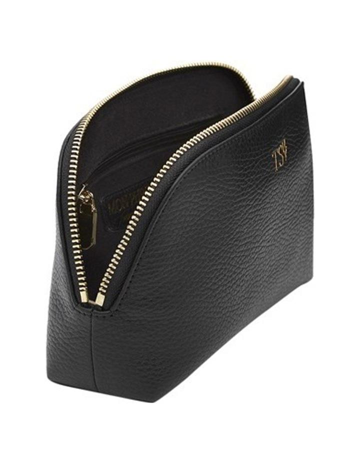 Grainy Black Cosmetic Case (Gold Zip) image 2