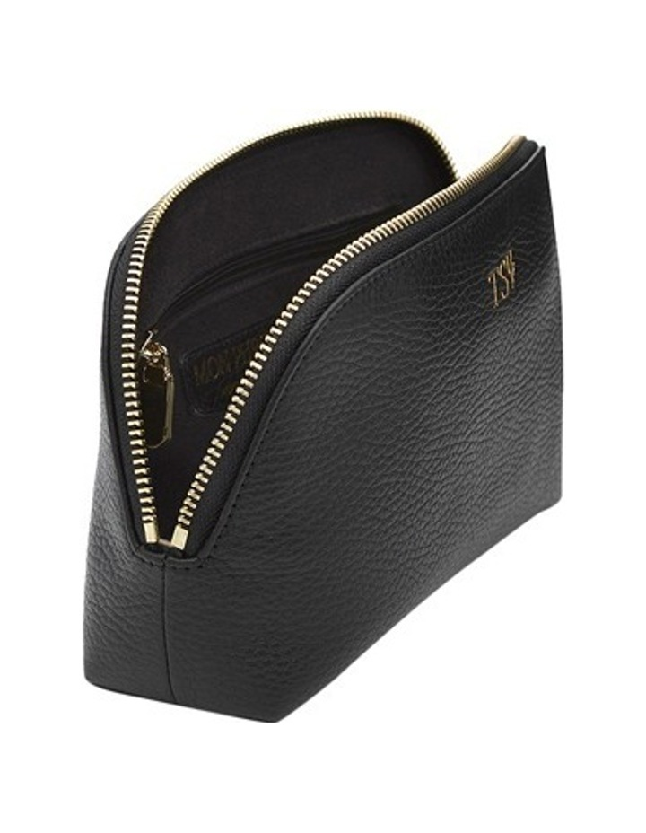 Grainy Black Cosmetic Case (Gold Zip) image 3