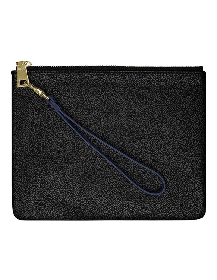 Grainy Navy Blue Pouch Wristlet (Gold Clasp) image 2