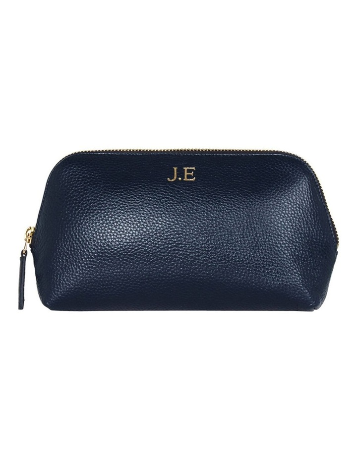 Grainy Navy Blue Cosmetic Case (Gold Zip) image 1