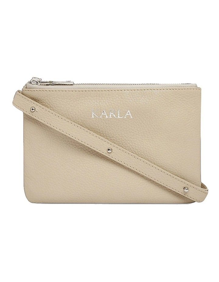 Grainy Stone Double Pouch Cross Body Bag (Silver Zip) image 1