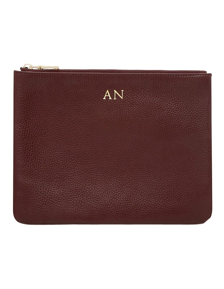 Grainy Burgundy Large Pouch (Gold Zip) image 1