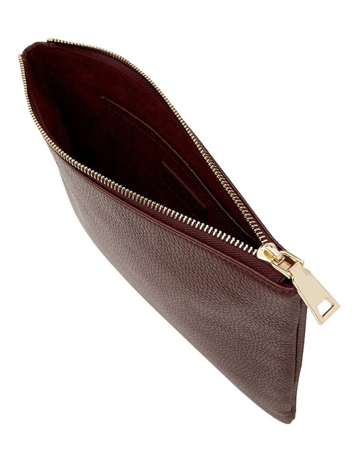 Grainy Burgundy Large Pouch (Gold Zip) image 2