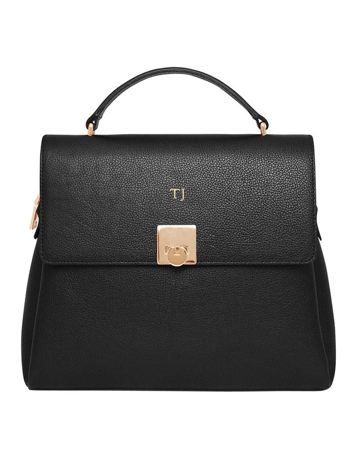 Grainy Black Top Handle Bag (Gold Zip) image 1