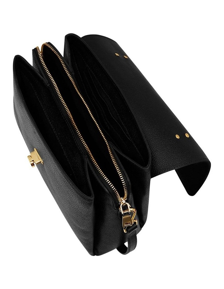 Grainy Black Top Handle Bag (Gold Zip) image 2