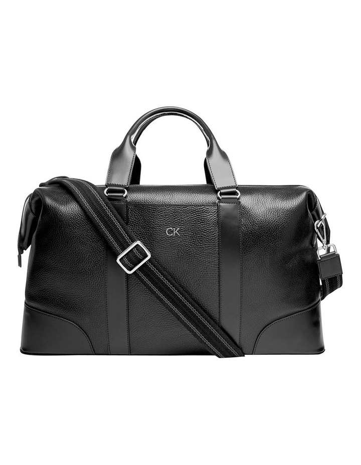Grainy Black Weekender Bag (Silver Zip) image 1