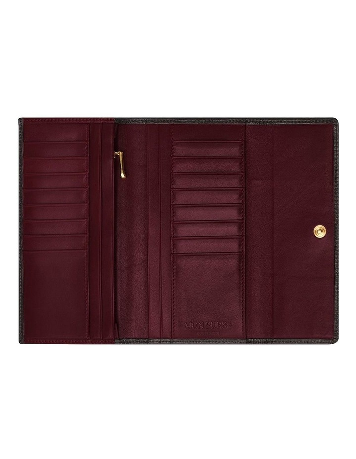 Grainy Black/Burgundy Continental Wallet (Gold Zip) image 2