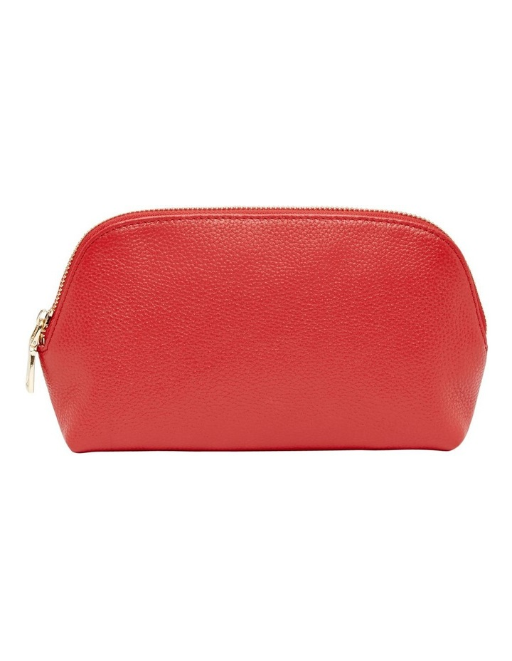 Grainy Red Cosmetic Case (Gold Zip) image 1