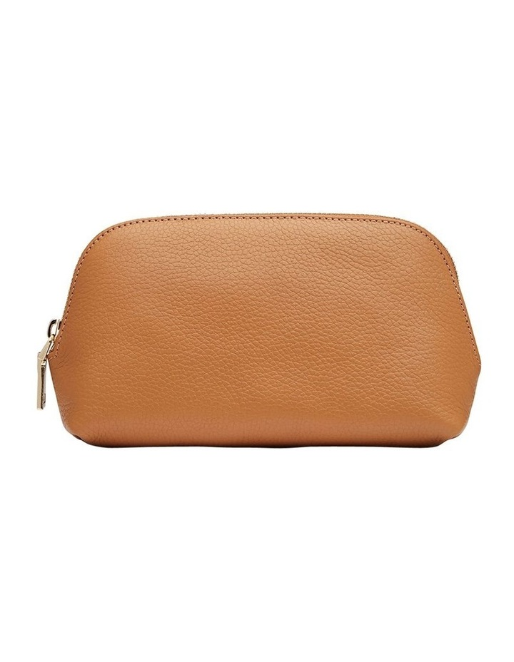 Grainy Tan Cosmetic Case (Gold Zip) image 1