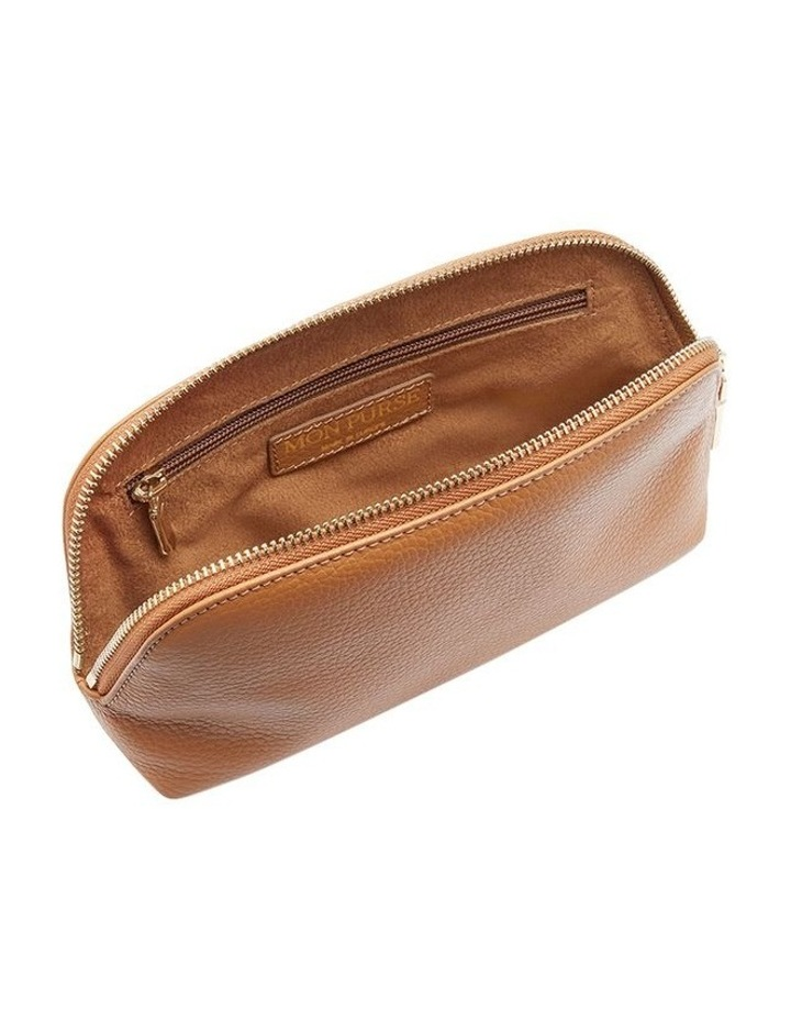 Grainy Tan Cosmetic Case (Gold Zip) image 2