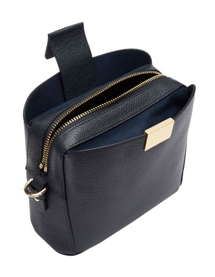 Grainy Navy Square Evening Bag (Gold Zip) image 2