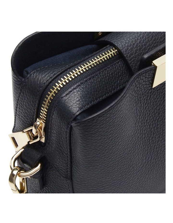 Grainy Navy Square Evening Bag (Gold Zip) image 4
