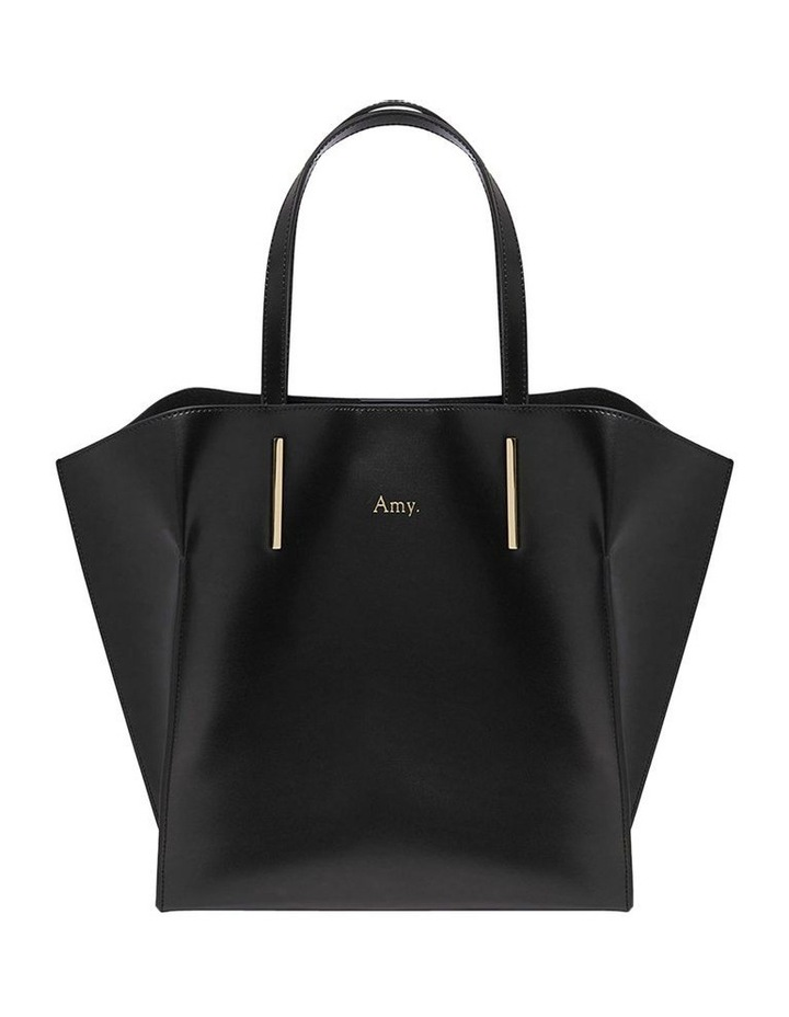 Smooth Black Angular Tote Bag (Gold Hardware) image 1