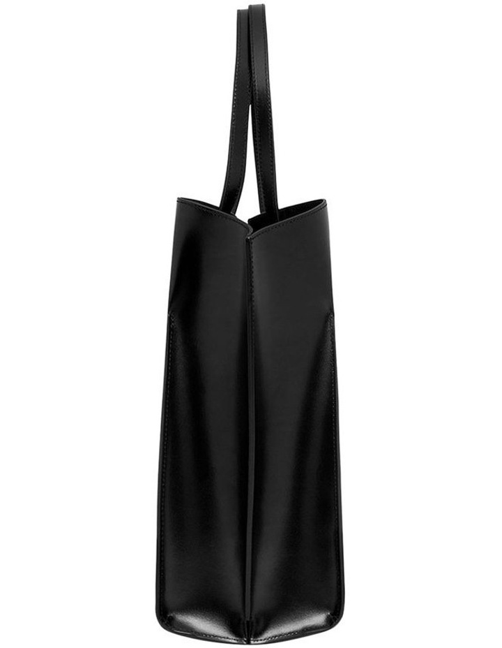 Smooth Black Angular Tote Bag (Gold Hardware) image 3