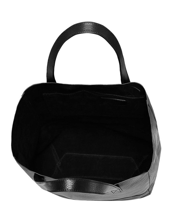 Grainy Black Soft Shopper Bag (Gold Zip) image 2