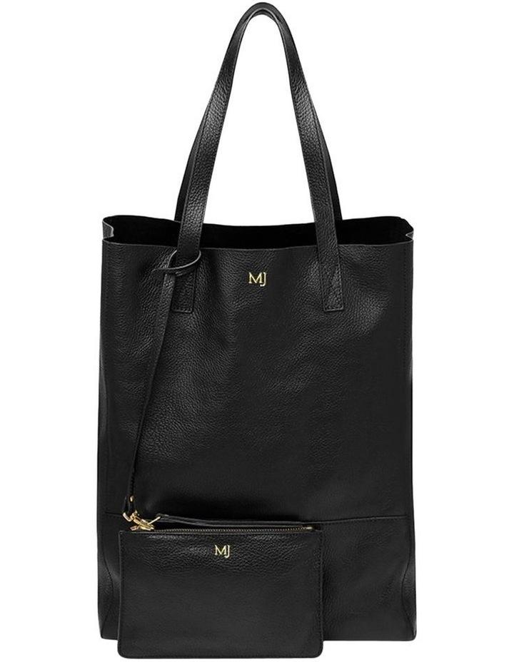 Grainy Black Soft Shopper Bag (Gold Zip) image 3