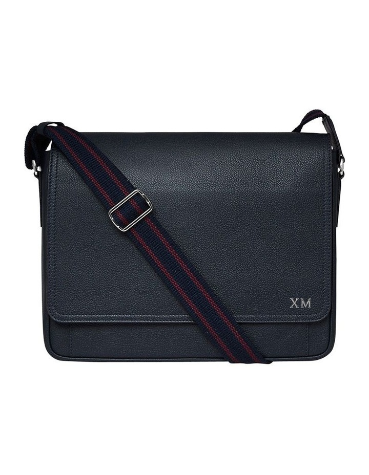 Grainy Navy Blue Men's Messenger Bag (Silver Zip) image 1
