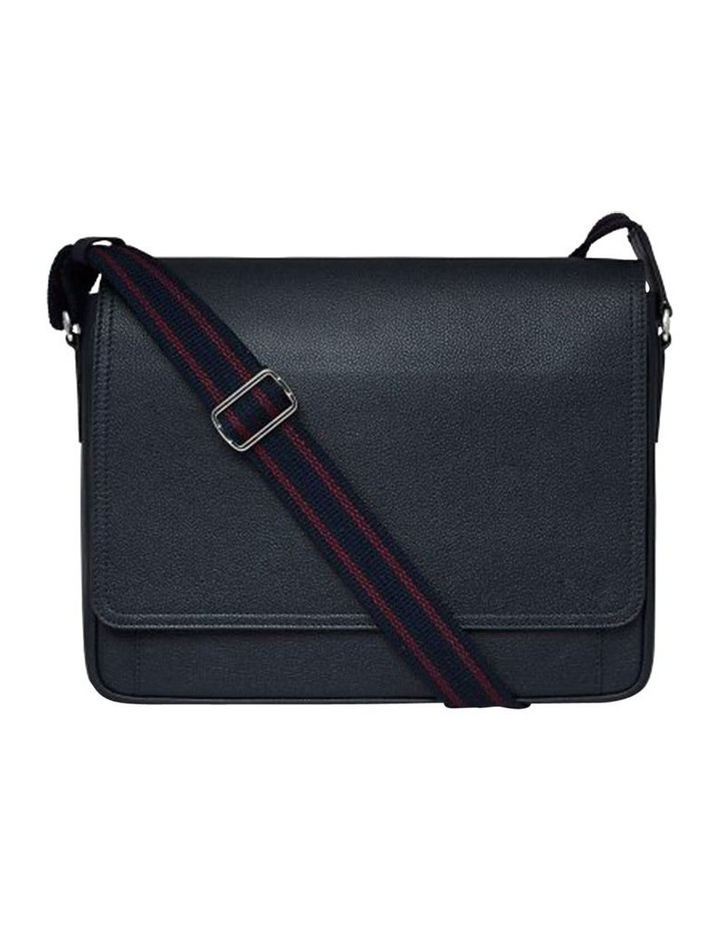 Grainy Navy Blue Men's Messenger Bag (Silver Zip) image 3