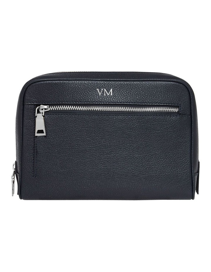 Grainy Navy Blue Wash Bag (Silver Zip) image 1