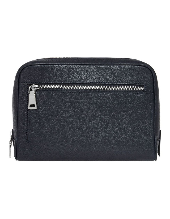 Grainy Navy Blue Wash Bag (Silver Zip) image 3