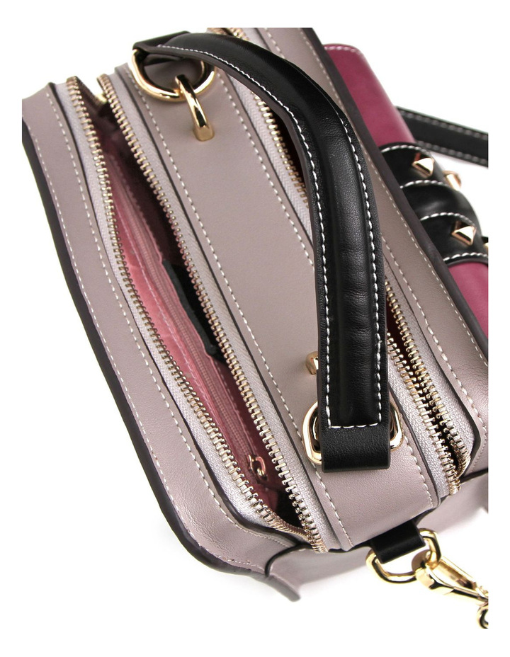 Frenchie Lover Leather Cross Body Bag Grey/Purple image 4