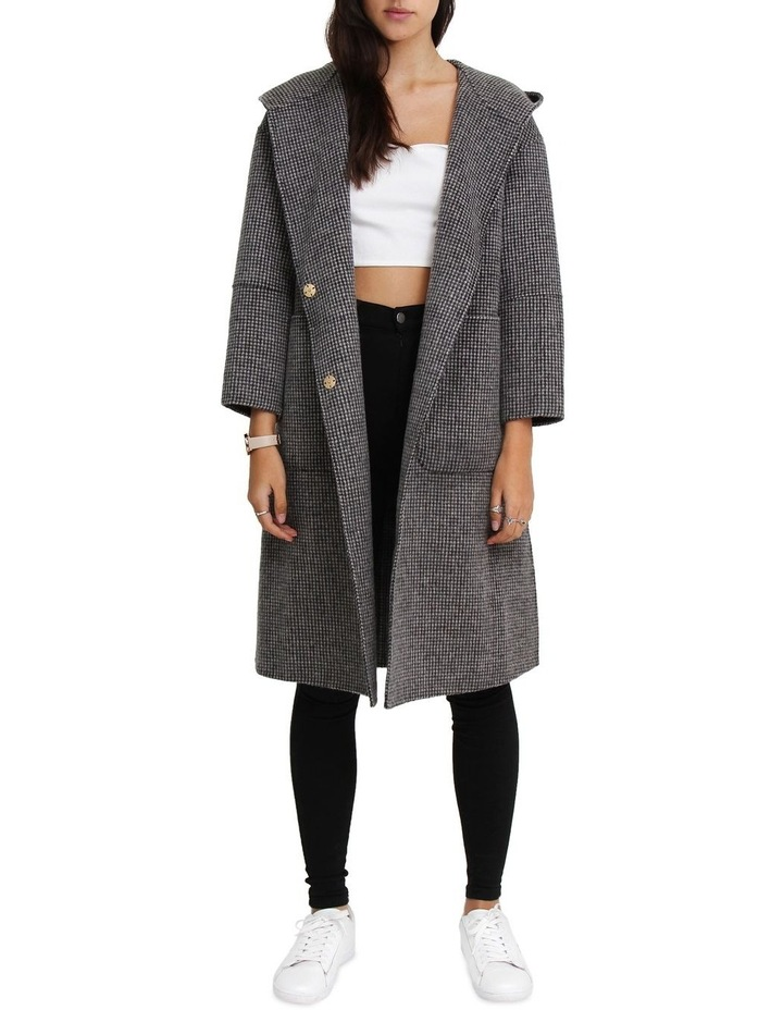 Walk This Way Wool Blend Black/White Oversized Coat image 1