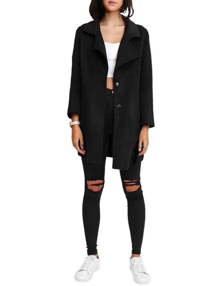 Ex-Boyfriend Black Wool Blend Oversized Jacket image 2