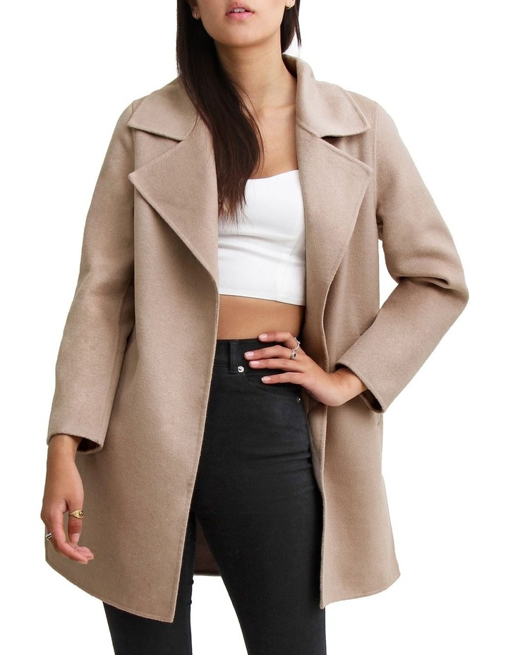 Ex- Boyfriend Sand Wool Blend Oversized Jacket image 2