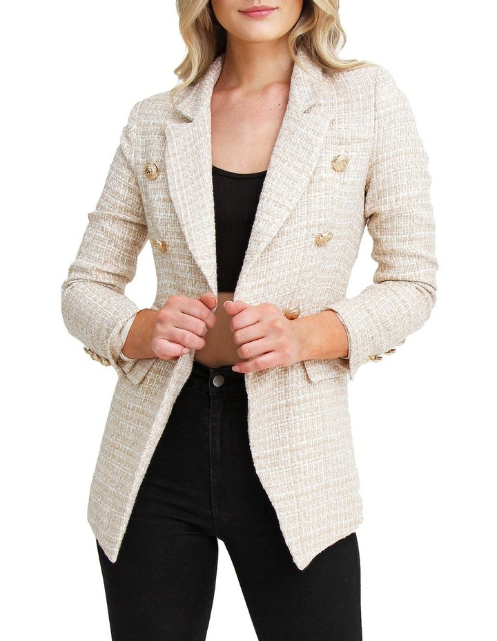 Princess Polly Beige Marle Tweed Blazer image 2