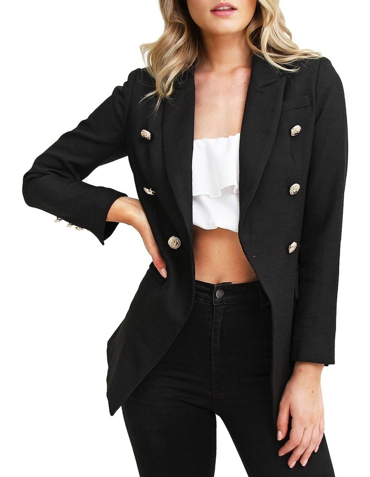 Princess Polly Black Tweed Blazer image 1