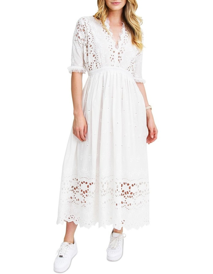 All Eyes On You White Midi Dress image 1
