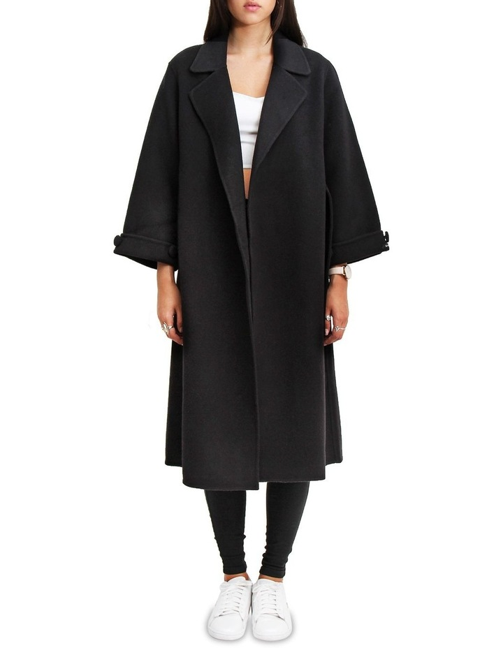 Stay Wild Black Wool Oversized Coat image 6