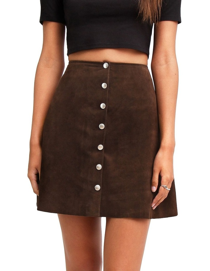 Into The Woods Hot Chocolate Leather Mini Skirt image 1