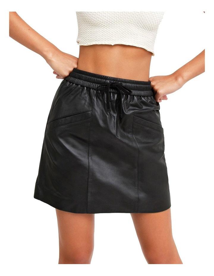 Midnight Magic Black Leather Mini Skirt image 1