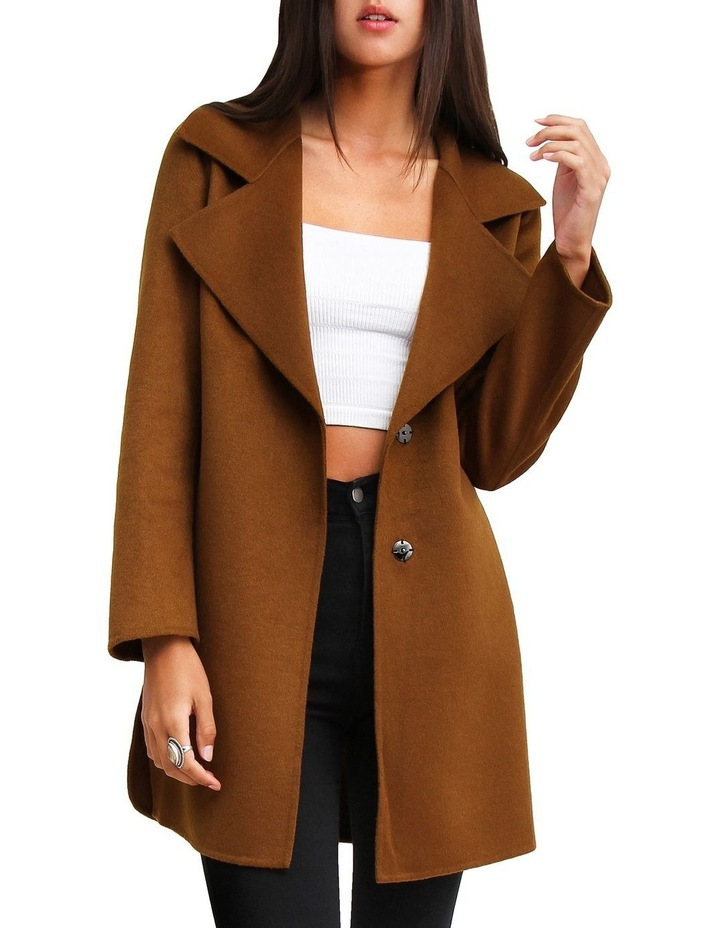 Ex-Boyfriend Dark Camel Wool Blend Oversized Jacket image 1