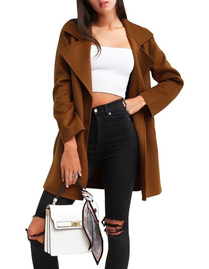 Ex-Boyfriend Dark Camel Wool Blend Oversized Jacket image 4