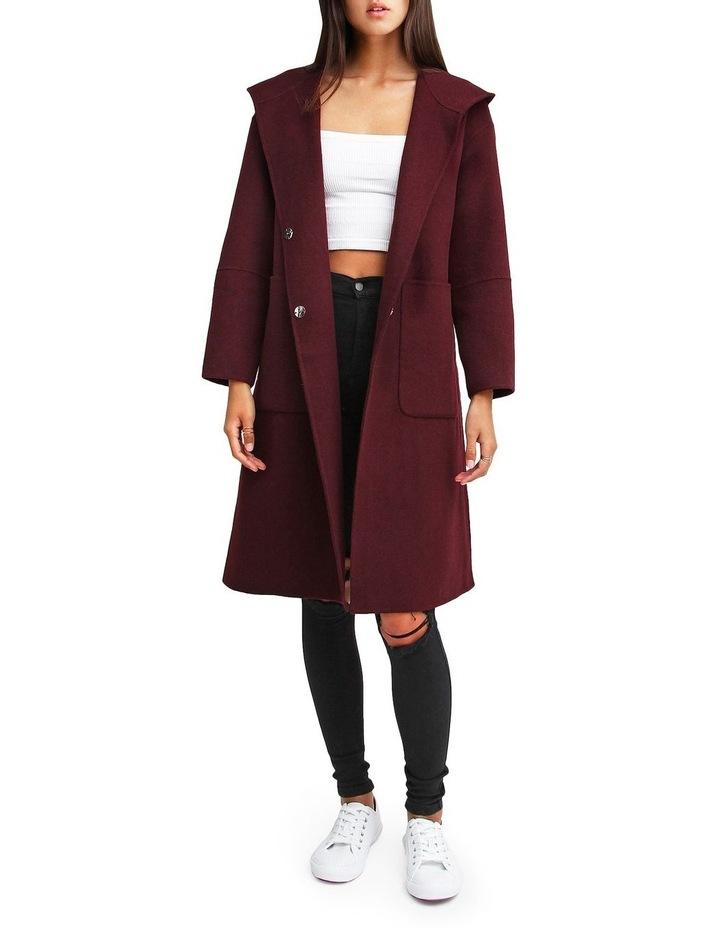 Walk This Way Wool Blend Oversized Coat - Aubergine image 1