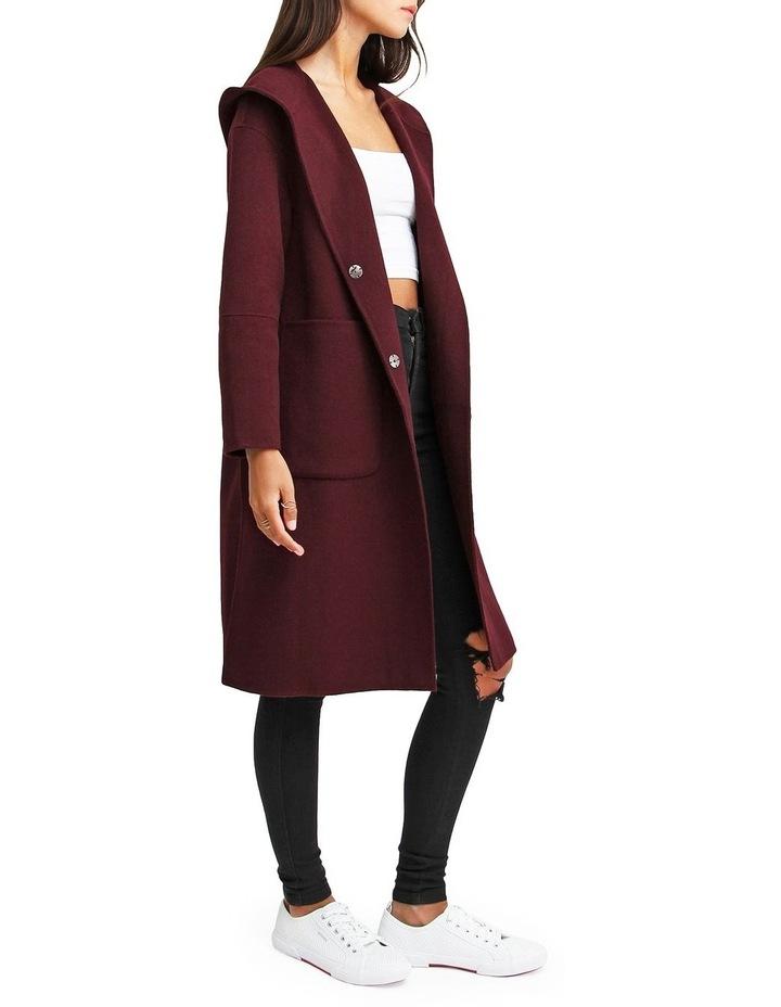 Walk This Way Wool Blend Oversized Coat - Aubergine image 2