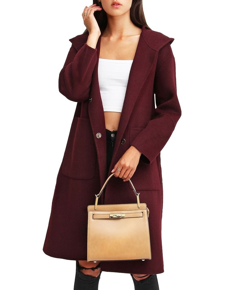 Walk This Way Wool Blend Oversized Coat - Aubergine image 4