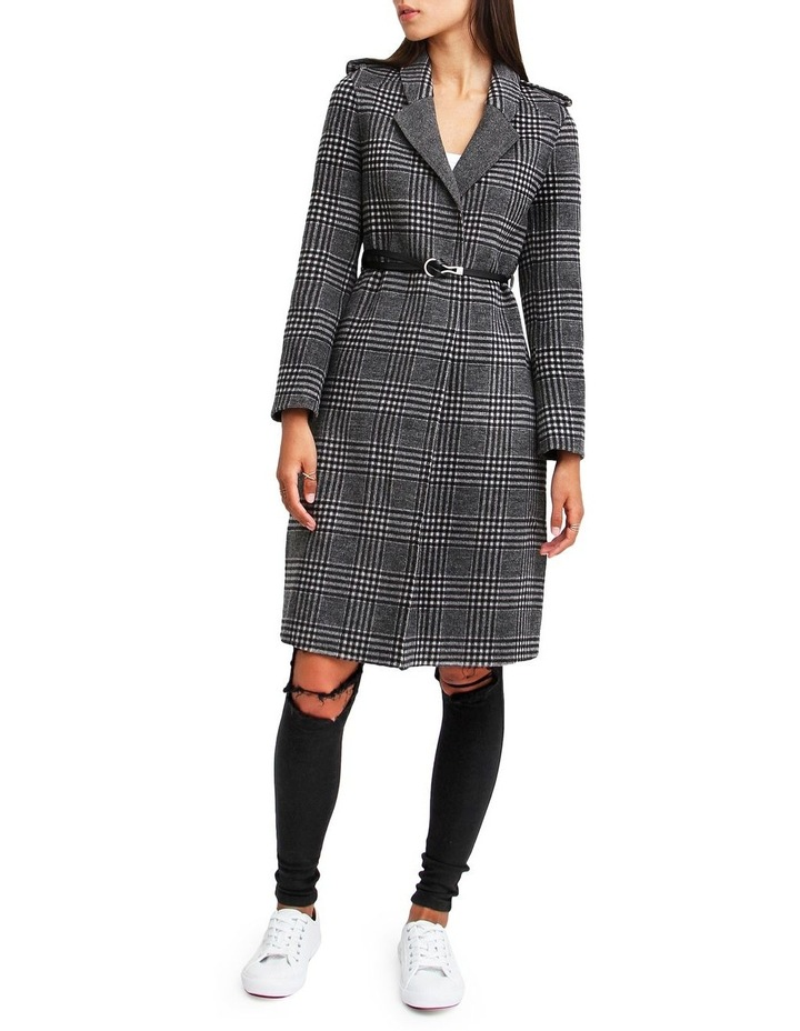 Jealousy Belted Wool Blend Coat - Black/White image 1