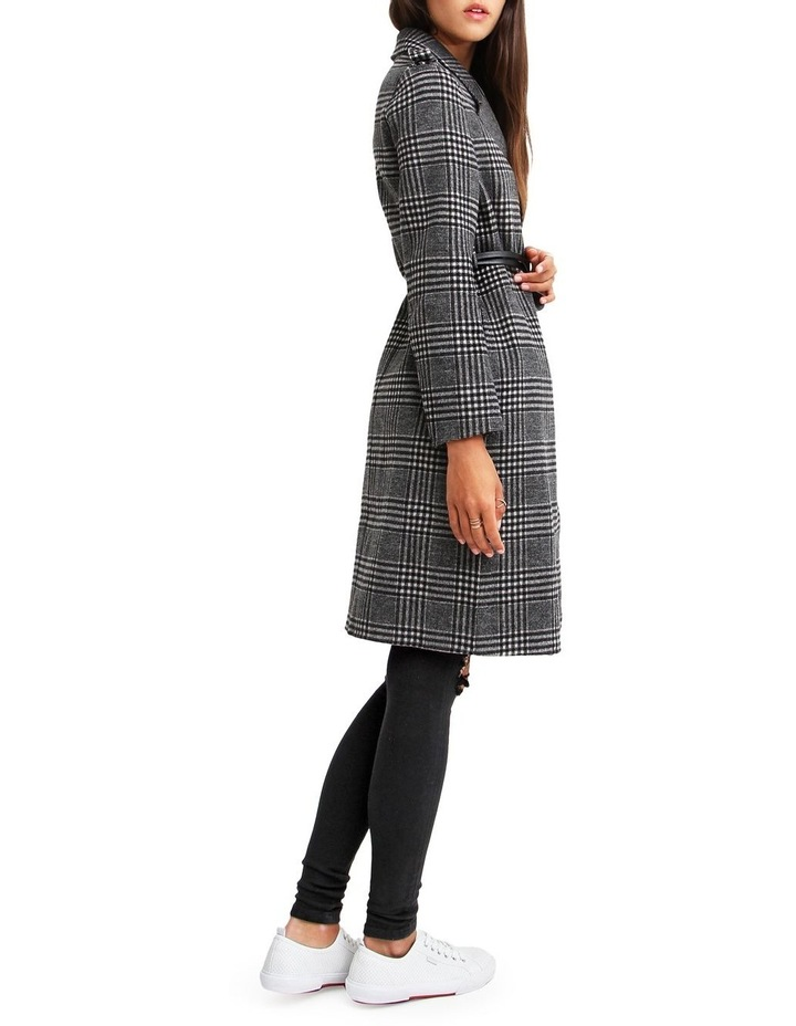 Jealousy Belted Wool Blend Coat - Black/White image 2