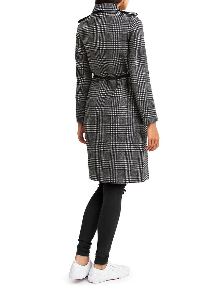 Jealousy Belted Wool Blend Coat - Black/White image 3