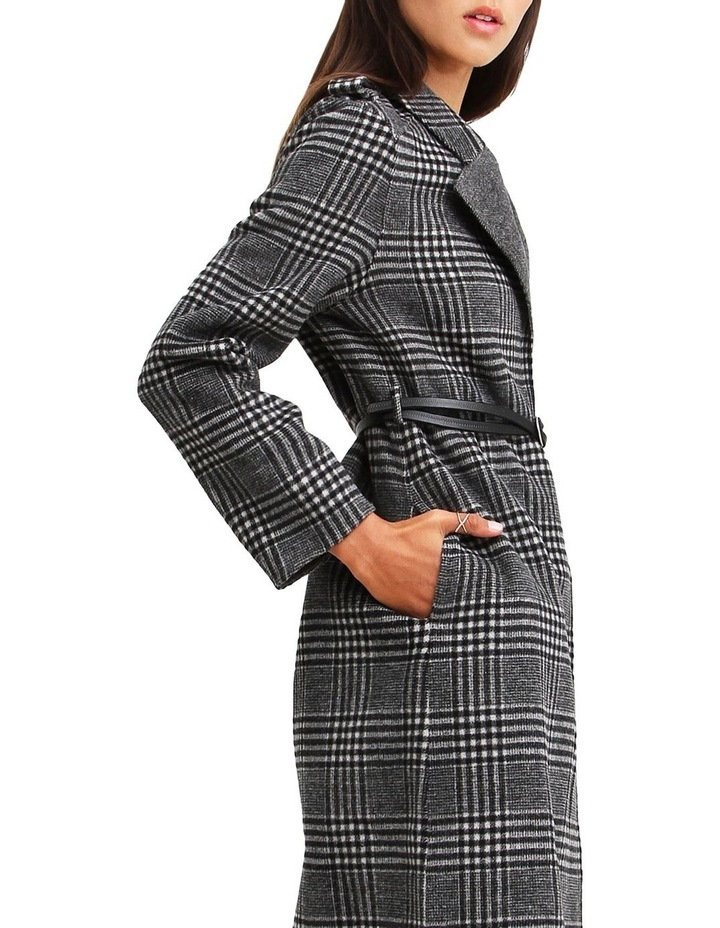 Jealousy Belted Wool Blend Coat - Black/White image 4