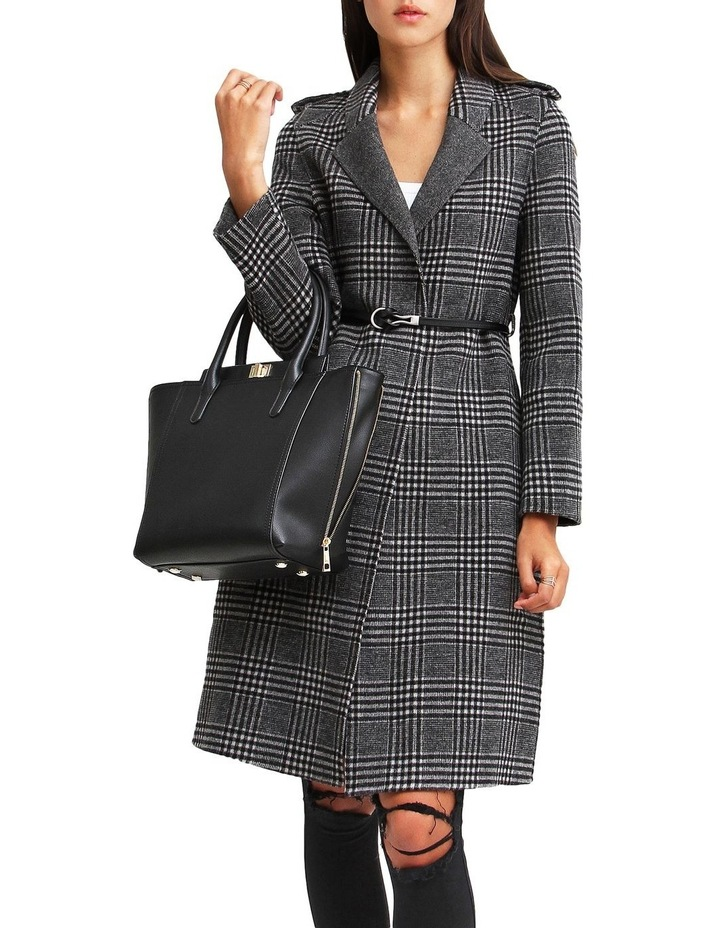 Jealousy Belted Wool Blend Coat - Black/White image 5