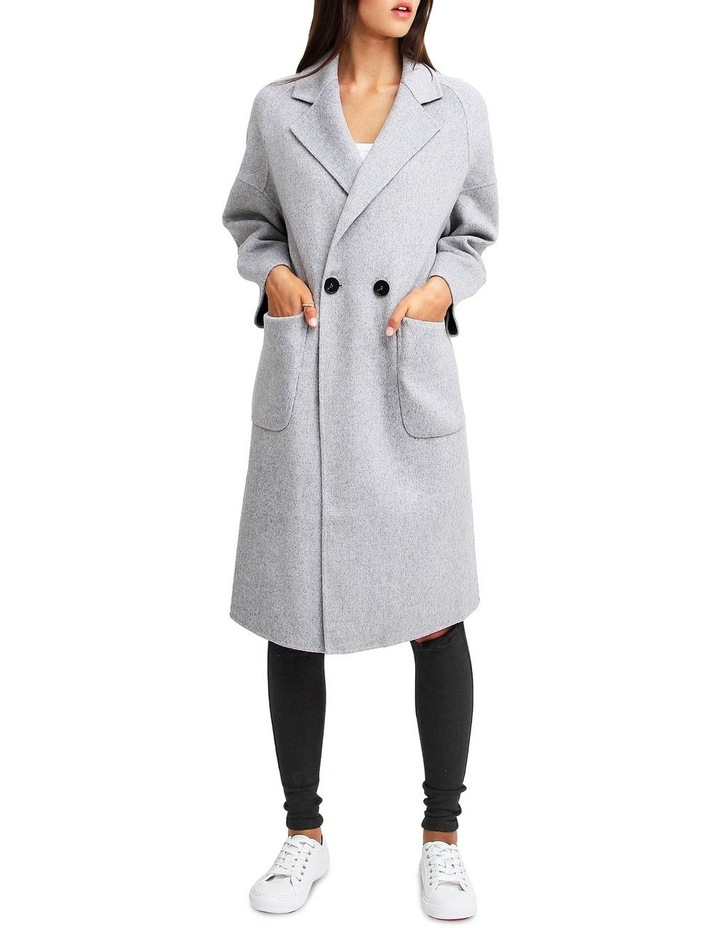 Publisher Grey Marl Double-Breasted Wool Blend Coat image 1