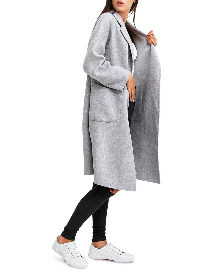 Publisher Grey Marl Double-Breasted Wool Blend Coat image 2