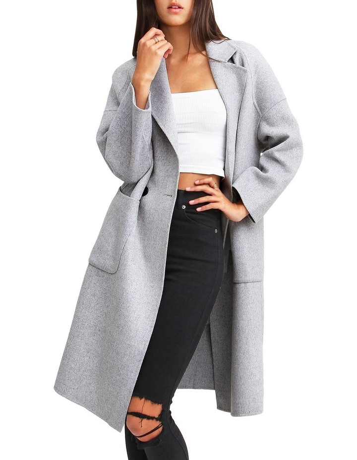 Publisher Grey Marl Double-Breasted Wool Blend Coat image 5