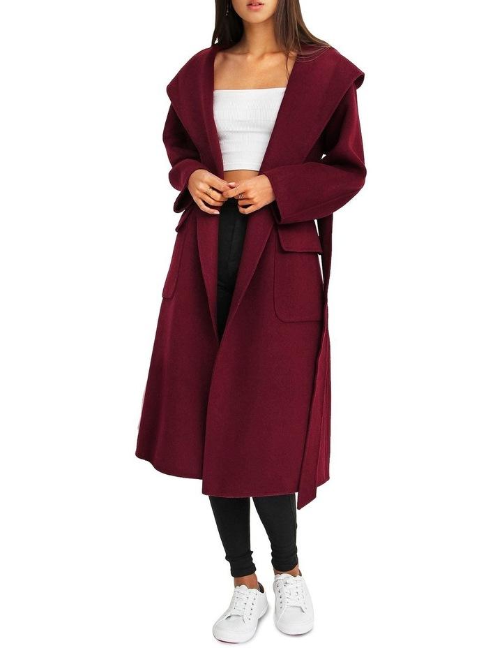 Runaway Wool Blend Robe Coat - Purple image 5