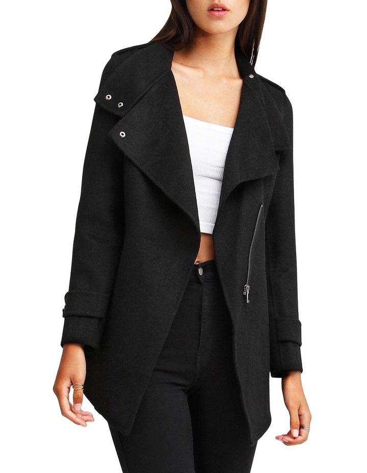 Bad Girl Black Wool Blend Moto Coat image 1