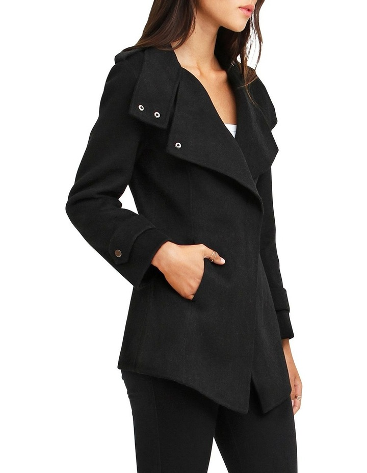 Bad Girl Black Wool Blend Moto Coat image 2
